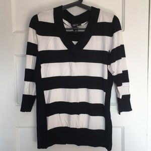 Black and white striped sweater size large
